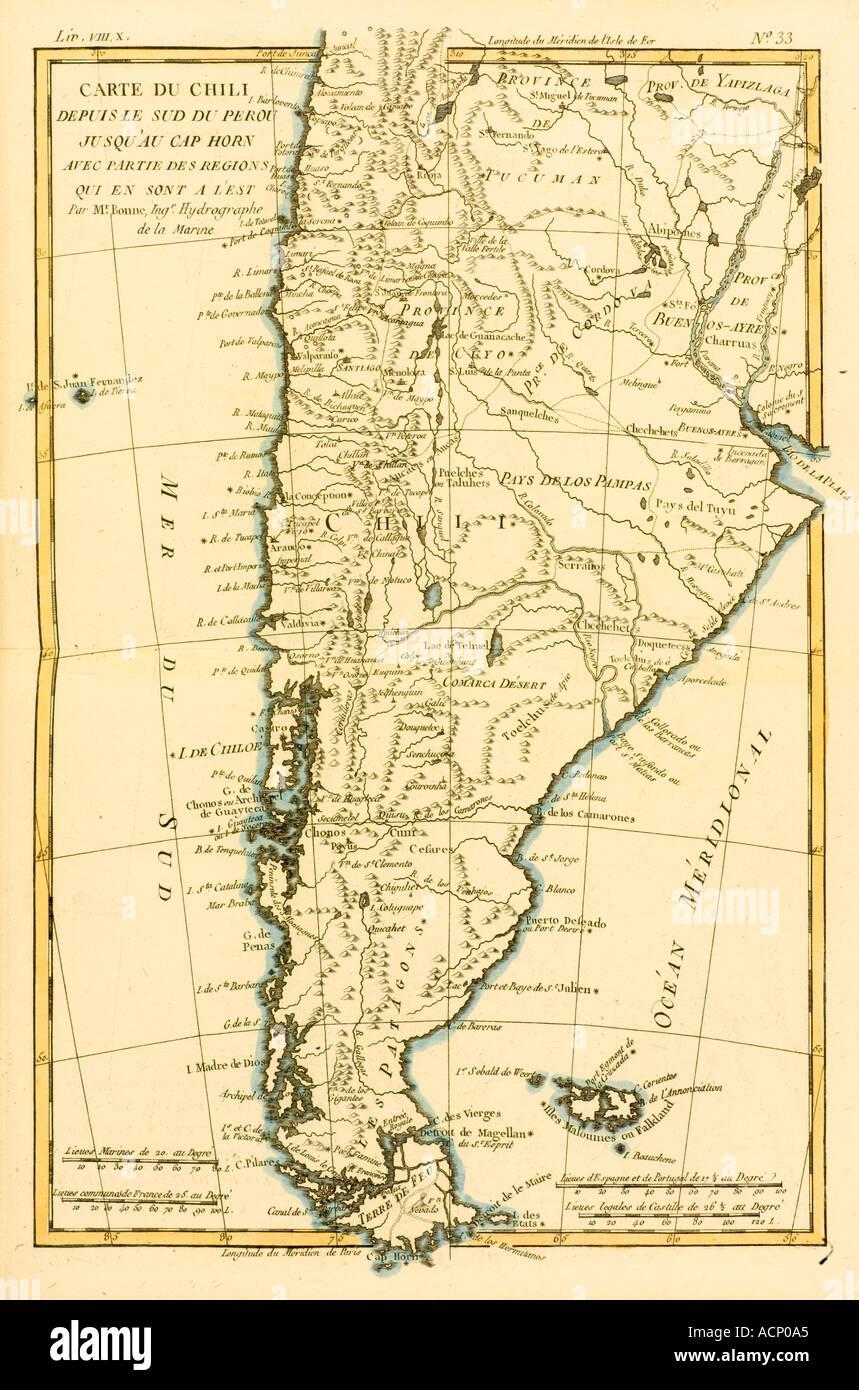 Capo Horn Cartina.Mappa Di Cile Dal Peru Meridionale Di Capo Horn 1760 Foto