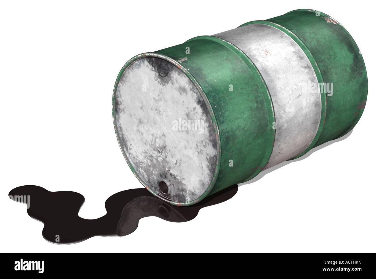 Fuoriuscita di petrolio tamburo Immagini Stock
