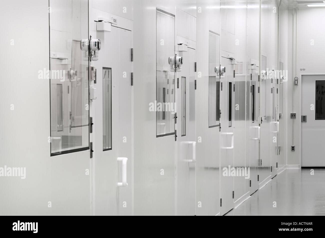 Biotecnologia Farmaceutica Sterile camera pulita in corridoio, Philadelphia, Stati Uniti d'America Immagini Stock