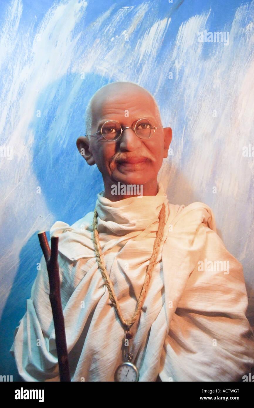 Statua del Mahatma Gandhi presso il museo delle cere di Victoria Island Immagini Stock