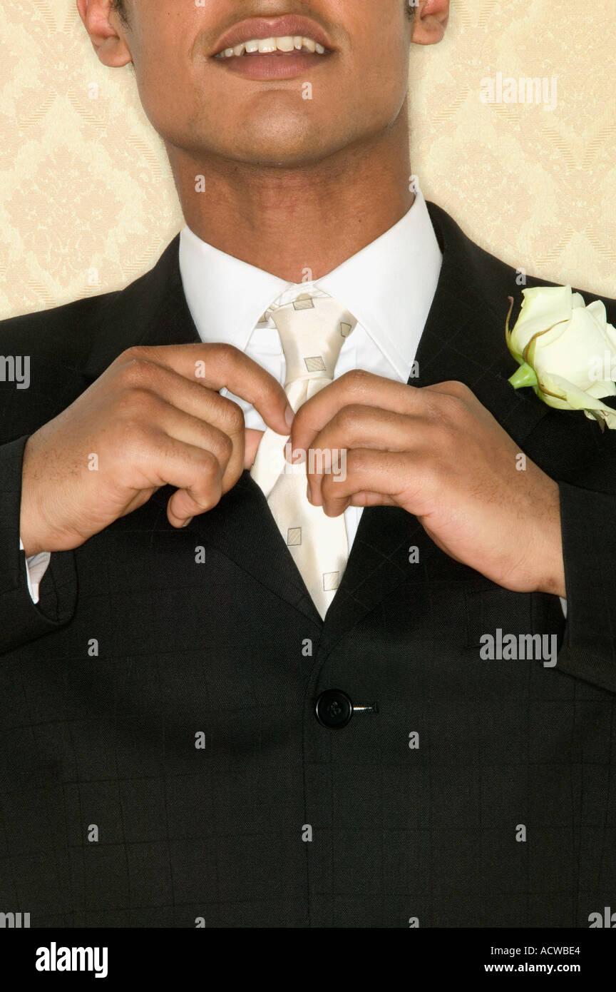 Sposo cravatta di regolazione Immagini Stock