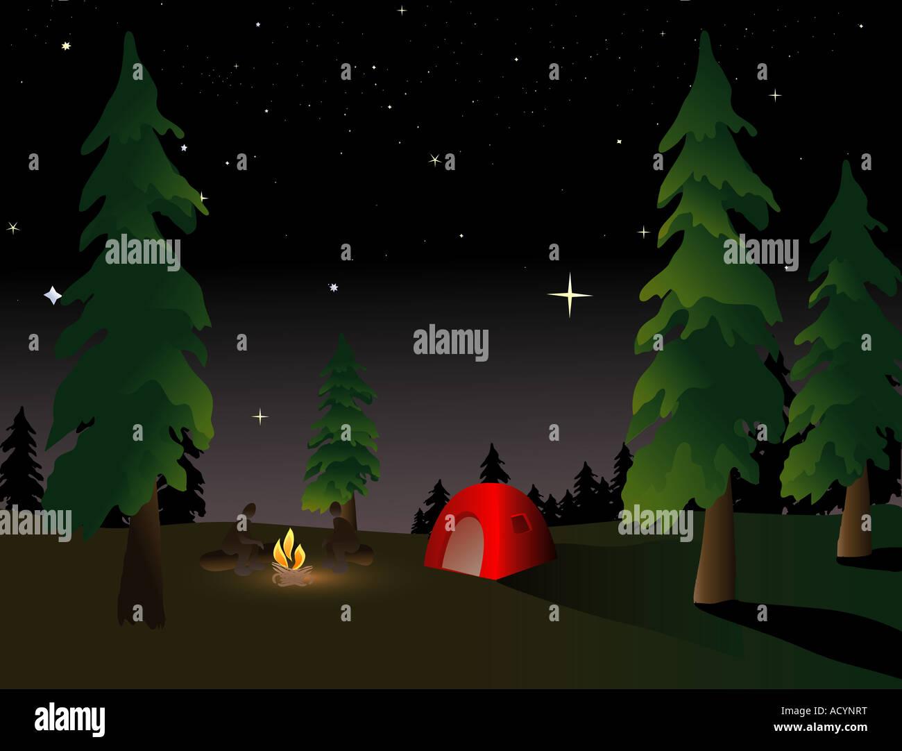 Campeggio nel deserto sotto una notte estiva sky Immagini Stock