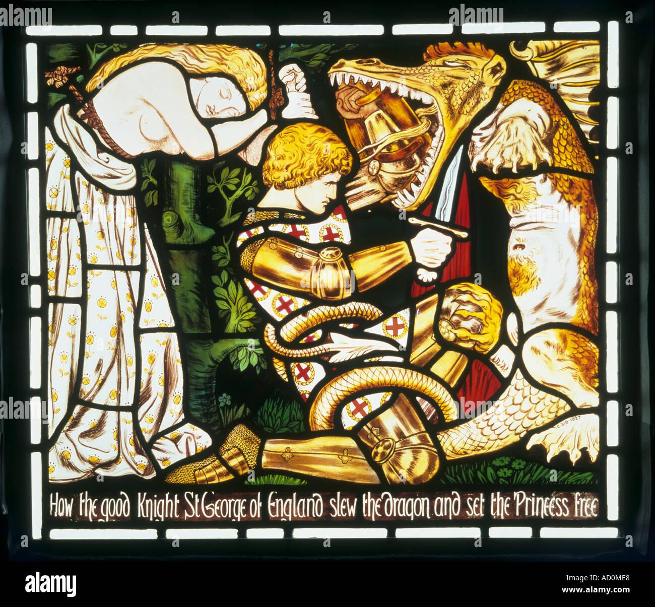 La leggenda di San Giorgio da Dante Gabriel Rossetti. Inghilterra, fine del XIX secolo. Immagini Stock