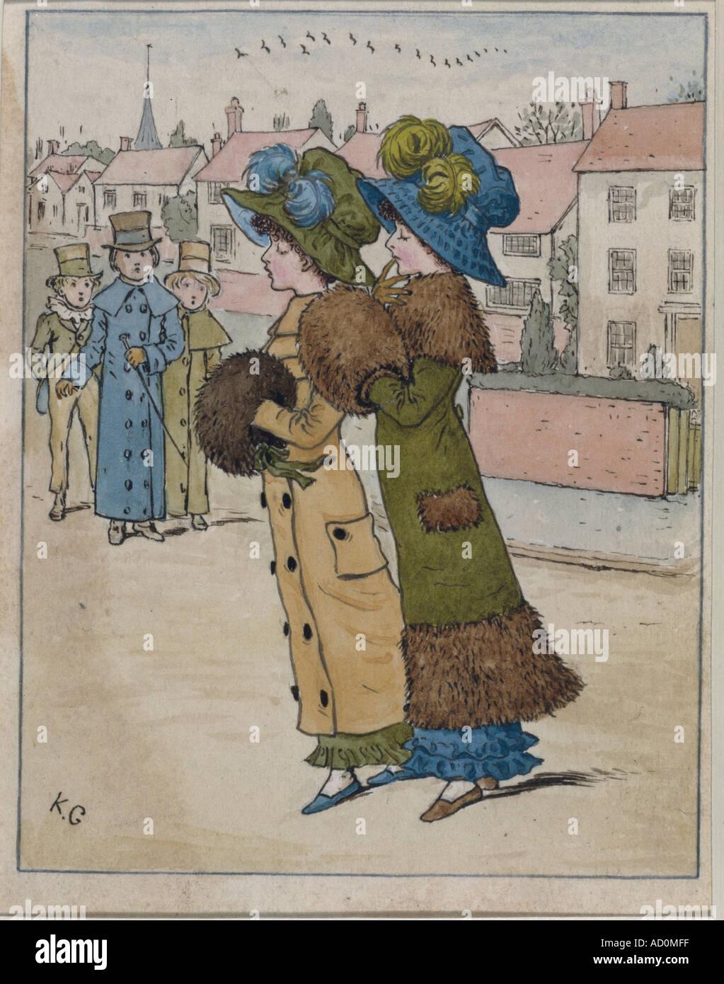 Sfilata di moda di Kate Greenaway. Inghilterra, fine del XIX secolo. Immagini Stock