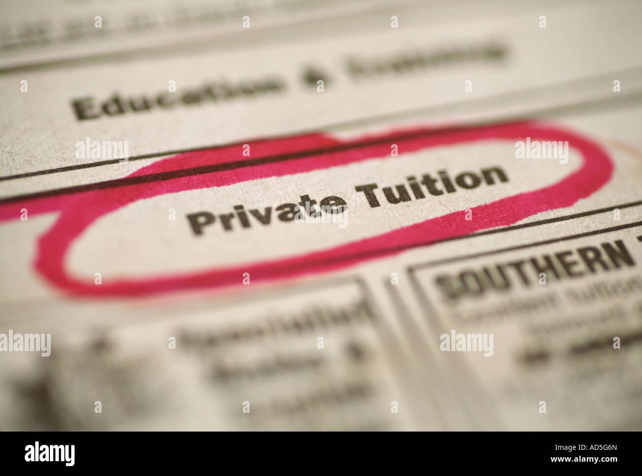 Annuncio di giornale per lezioni private Immagini Stock
