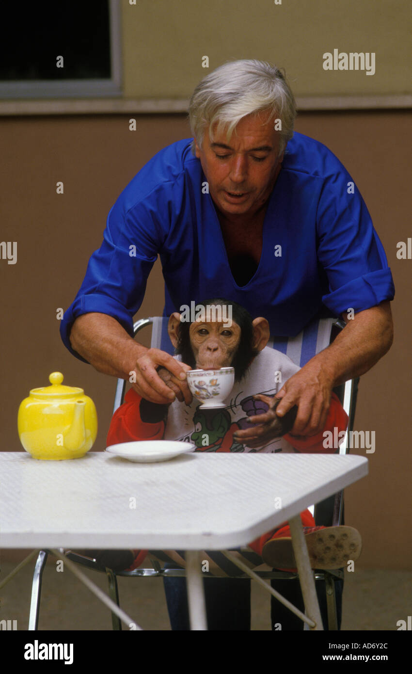 Brook Bond the advert Roma. L'Italia. Gli scimpanzé Sally e Nancy con il proprietario inglese gestori. 1988 HOMER SYKES Immagini Stock