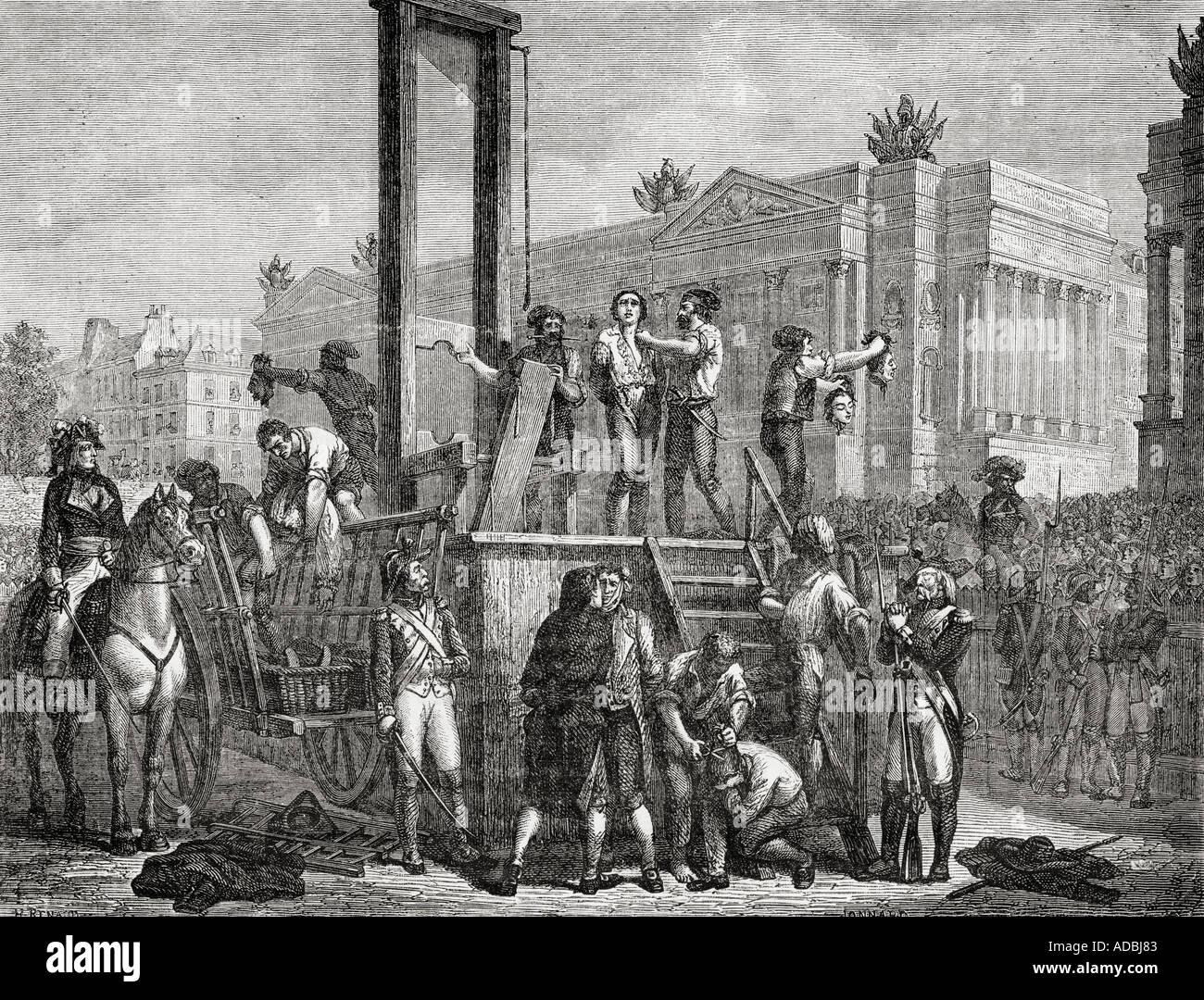 Esecuzione di Robespierre e Saint Just e altri durante la Rivoluzione Francese, 1794. Immagini Stock