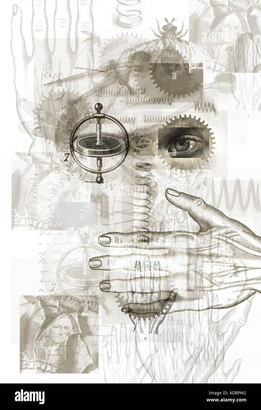 Scoperta la scienza e la mente Immagini Stock