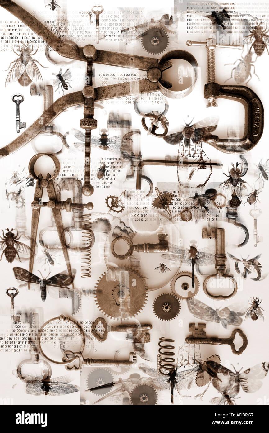Piccoli oggetti, bug, chiavi e strumenti crea un modello su uno sfondo bianco. Science discovery e mistero concept Immagini Stock