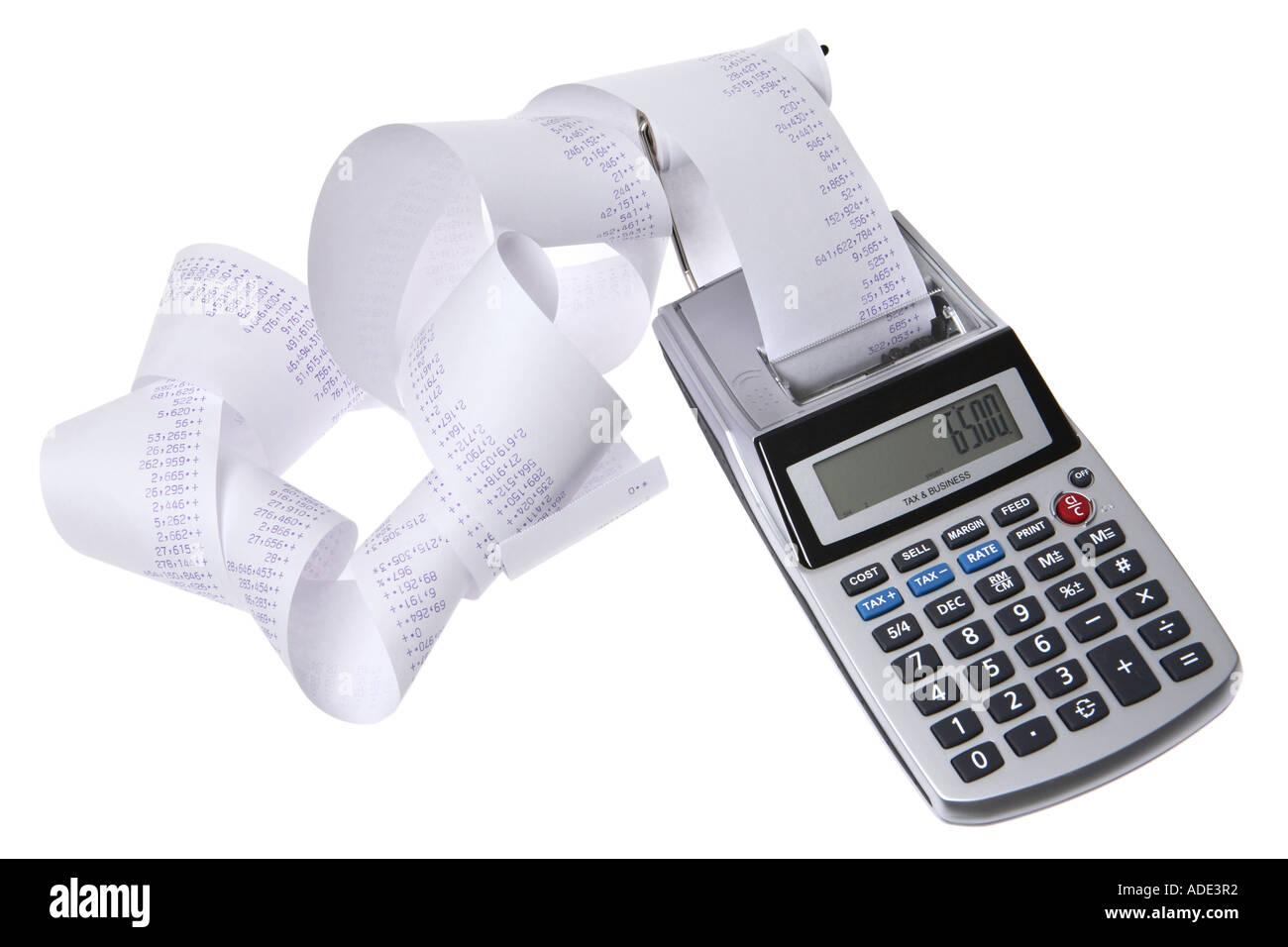 Calcolatrice con lunga ricevuta stampata Immagini Stock