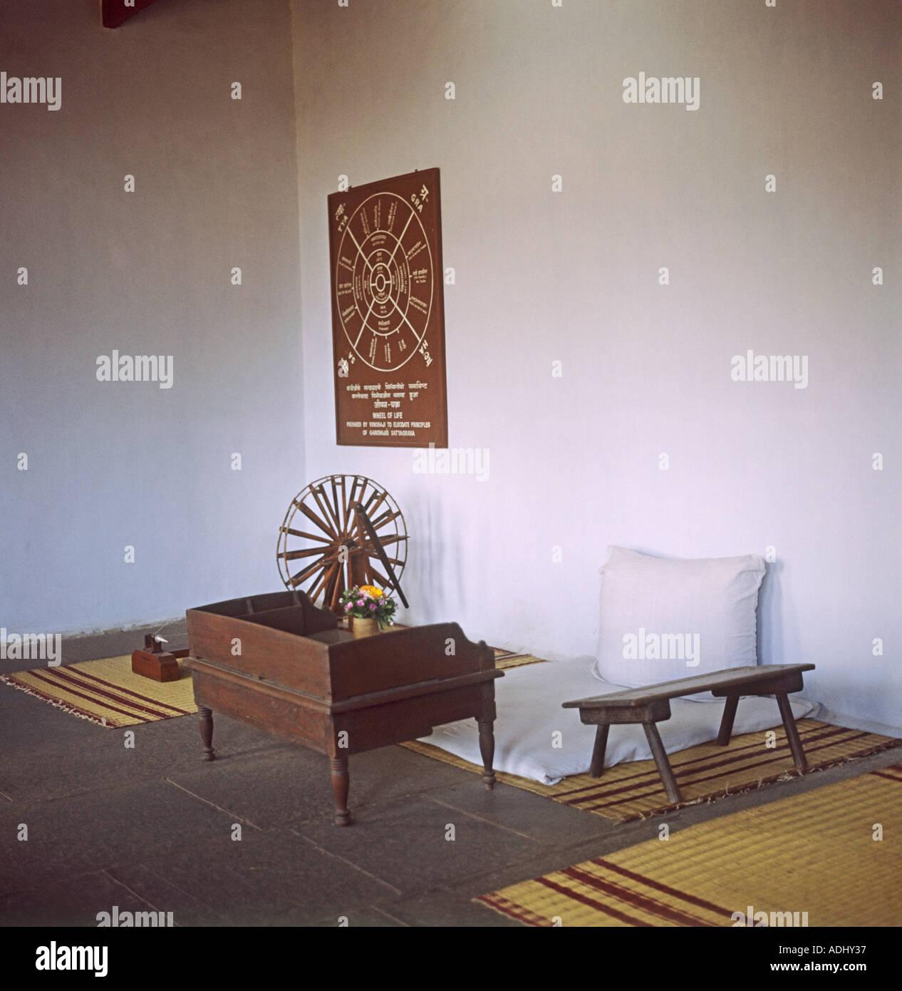 La sala di riposo del Mahatma Gandhi a Ahmedabad dove visse laprima parte della sua vita dopo hisreturn in India dal Sud Africa Immagini Stock
