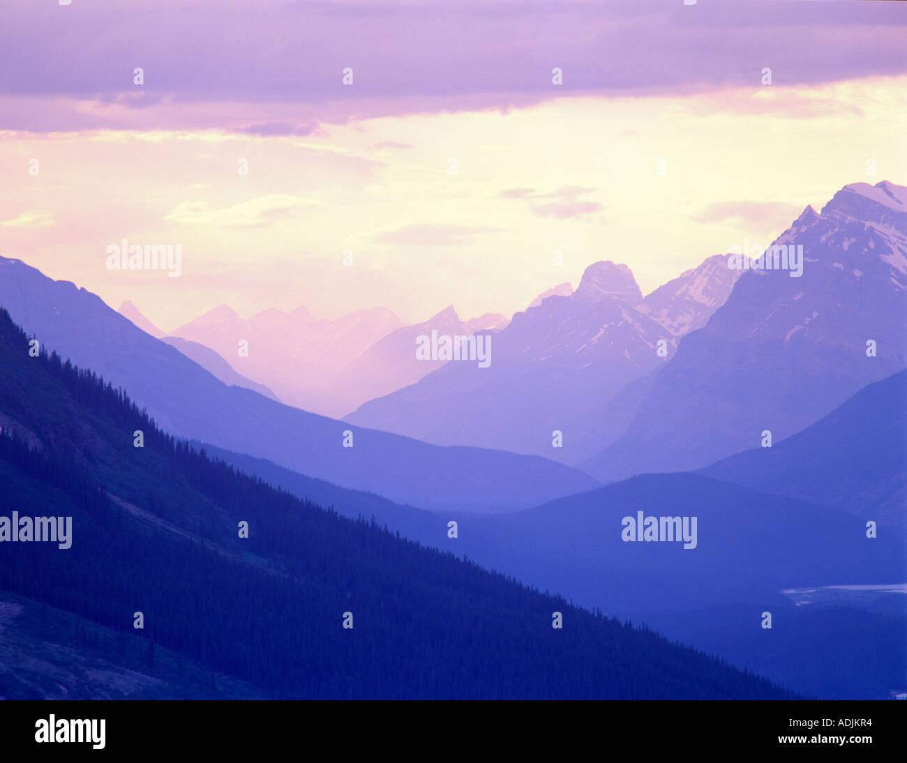 Le montagne vicino al Lago Peyto il Parco Nazionale di Banff in Canada Immagini Stock
