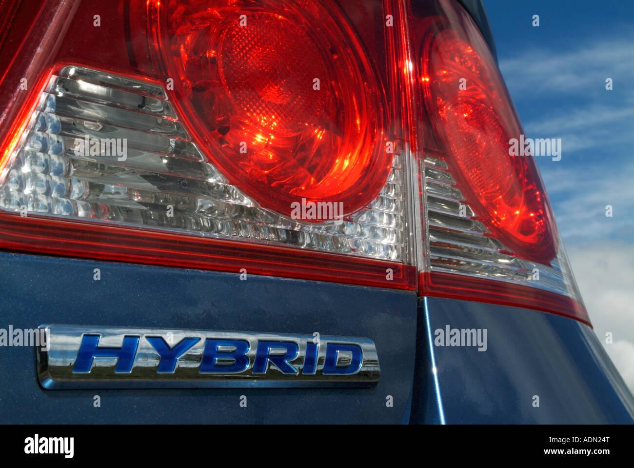 La luce di posizione posteriore e il distintivo della Honda Civic Hybrid auto Immagini Stock