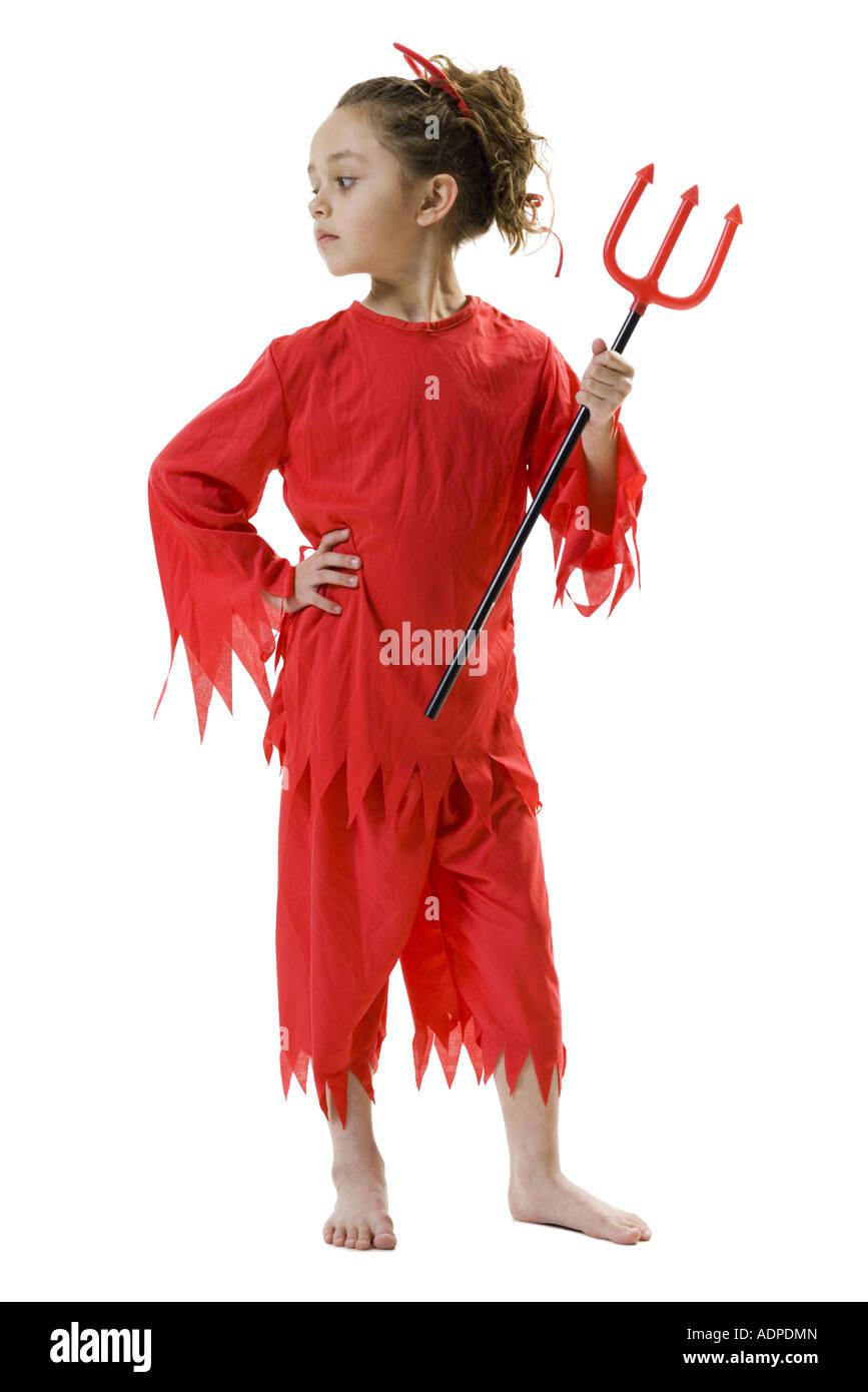 Ragazza in costume del diavolo Immagini Stock