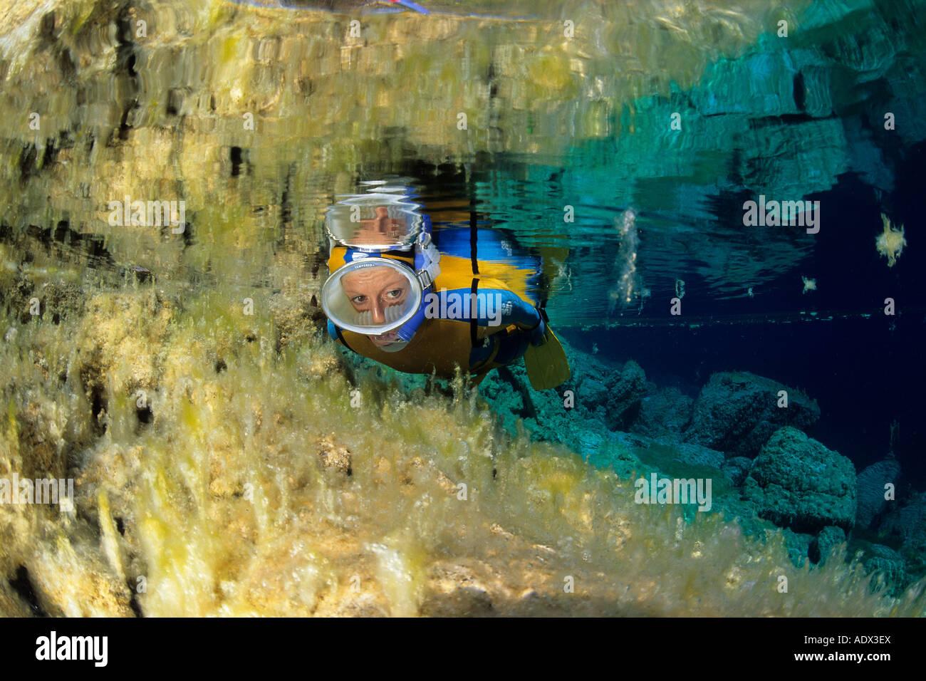 Snorkeling a Cornino Lago Friuli Italia Immagini Stock