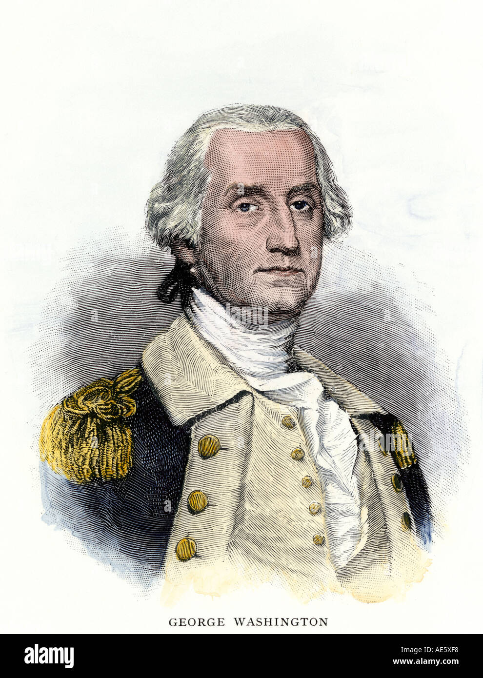 General George Washington. Colorate a mano la xilografia Immagini Stock