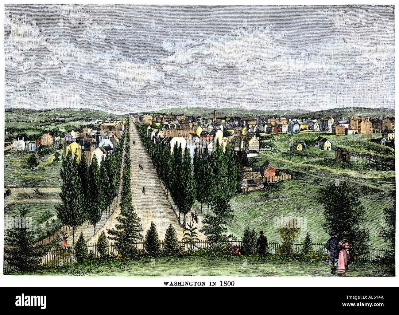 Washington DC nel 1800 guardando giù Pennsylvania Avenue dal Capitol motivi. Colorate a mano la xilografia Foto Stock