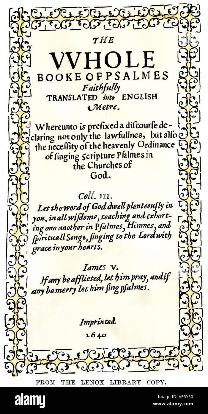 Bay Salmo Libro primo libro stampato in Massachusetts Bay Colony 1640. Colorate a mano la xilografia Immagini Stock