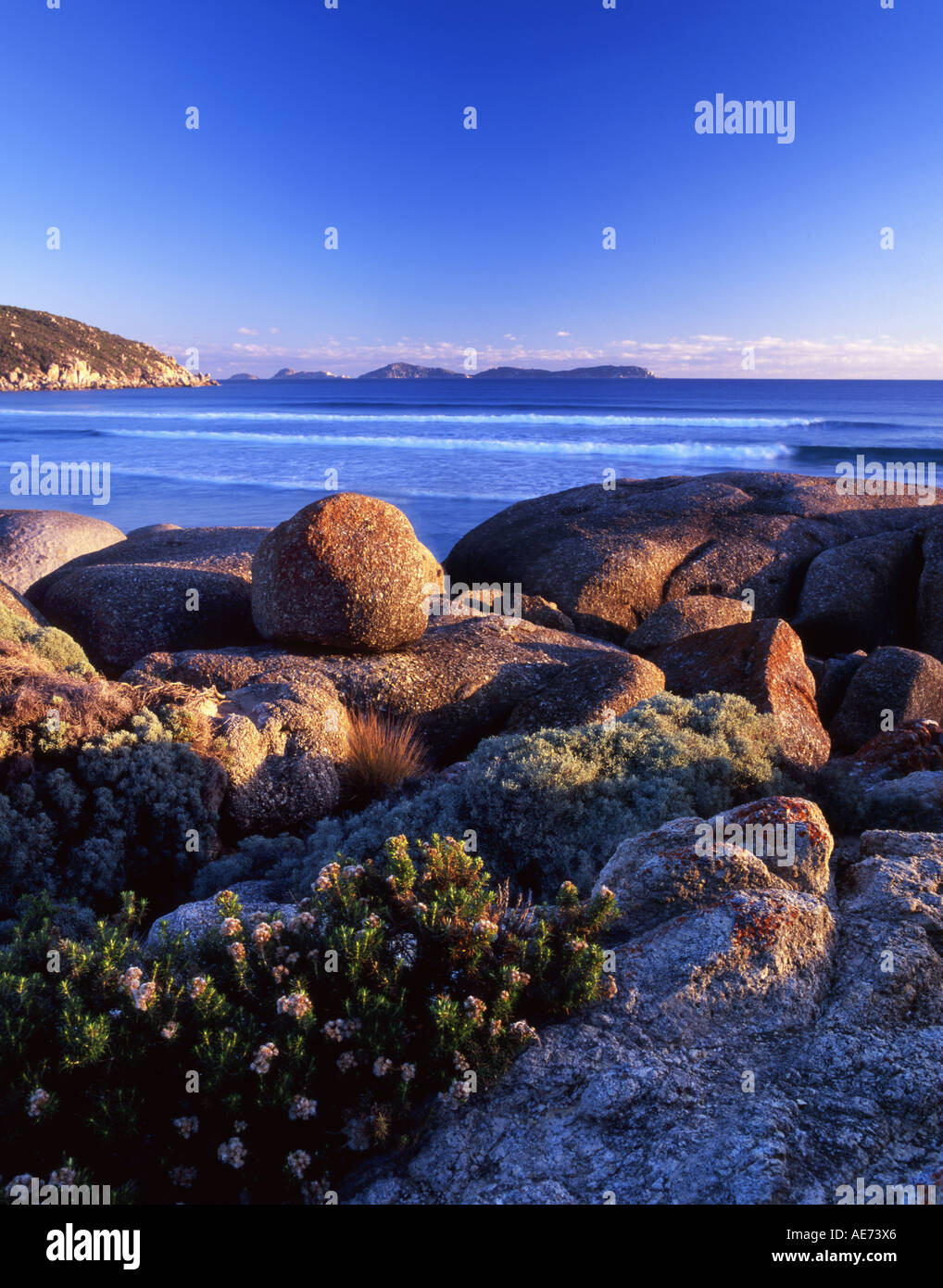Massi di granito a Whisky Bay Wilsons Promontory National Park Victoria Australia Foto Stock