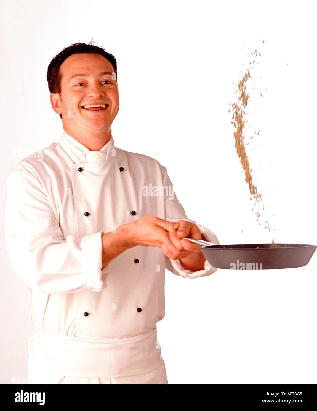 Lo chef prepara il riso Immagini Stock