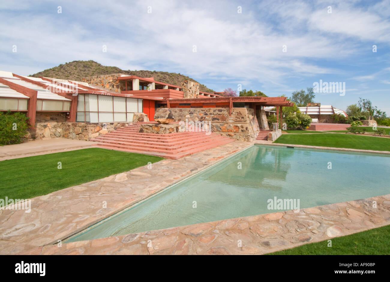 Scottsdale Arizona Taliesin West architetto Frank Lloyd Wright home inverno e studio Immagini Stock