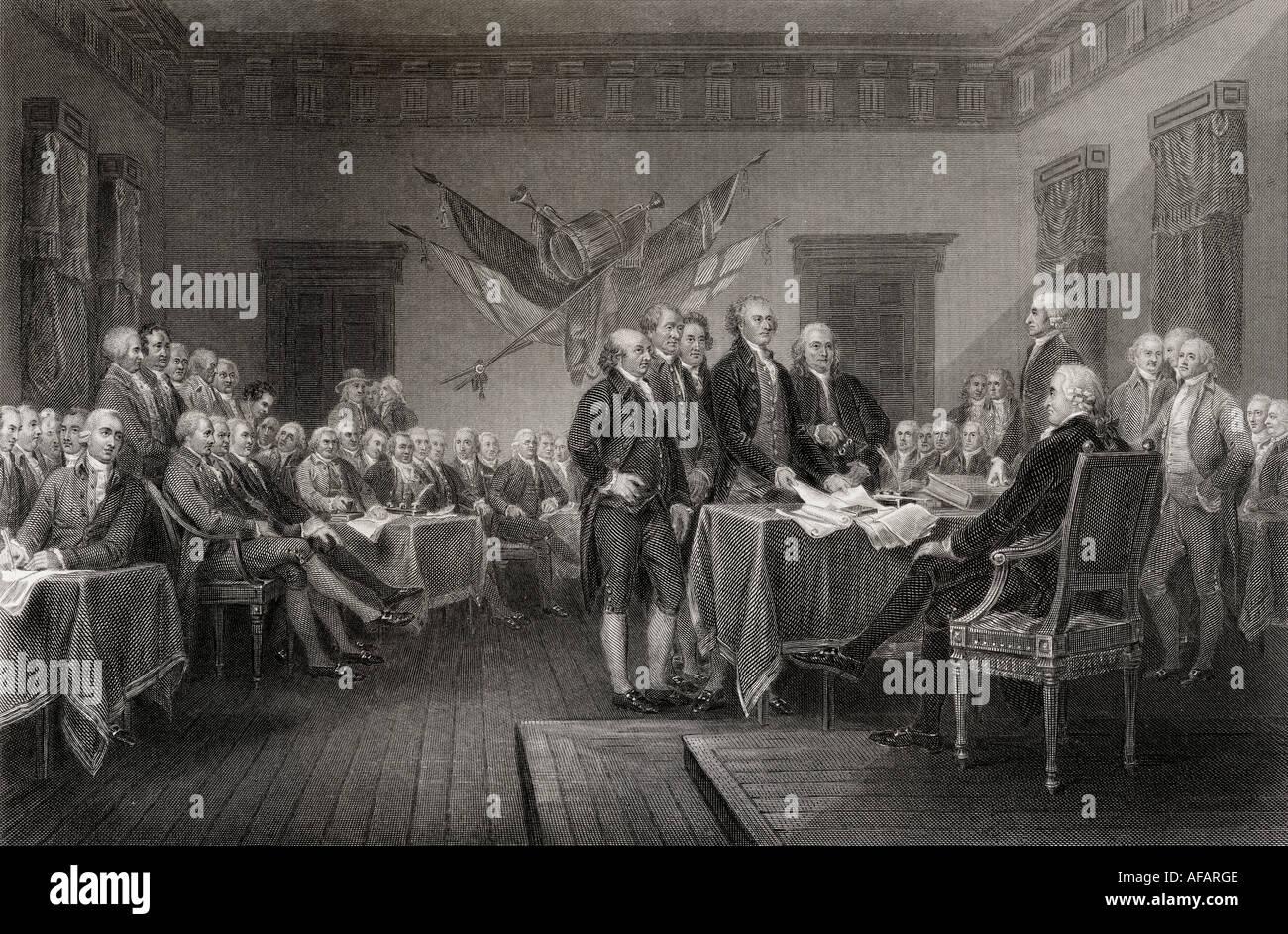 La Dichiarazione di Indipendenza Luglio 1776 Immagini Stock