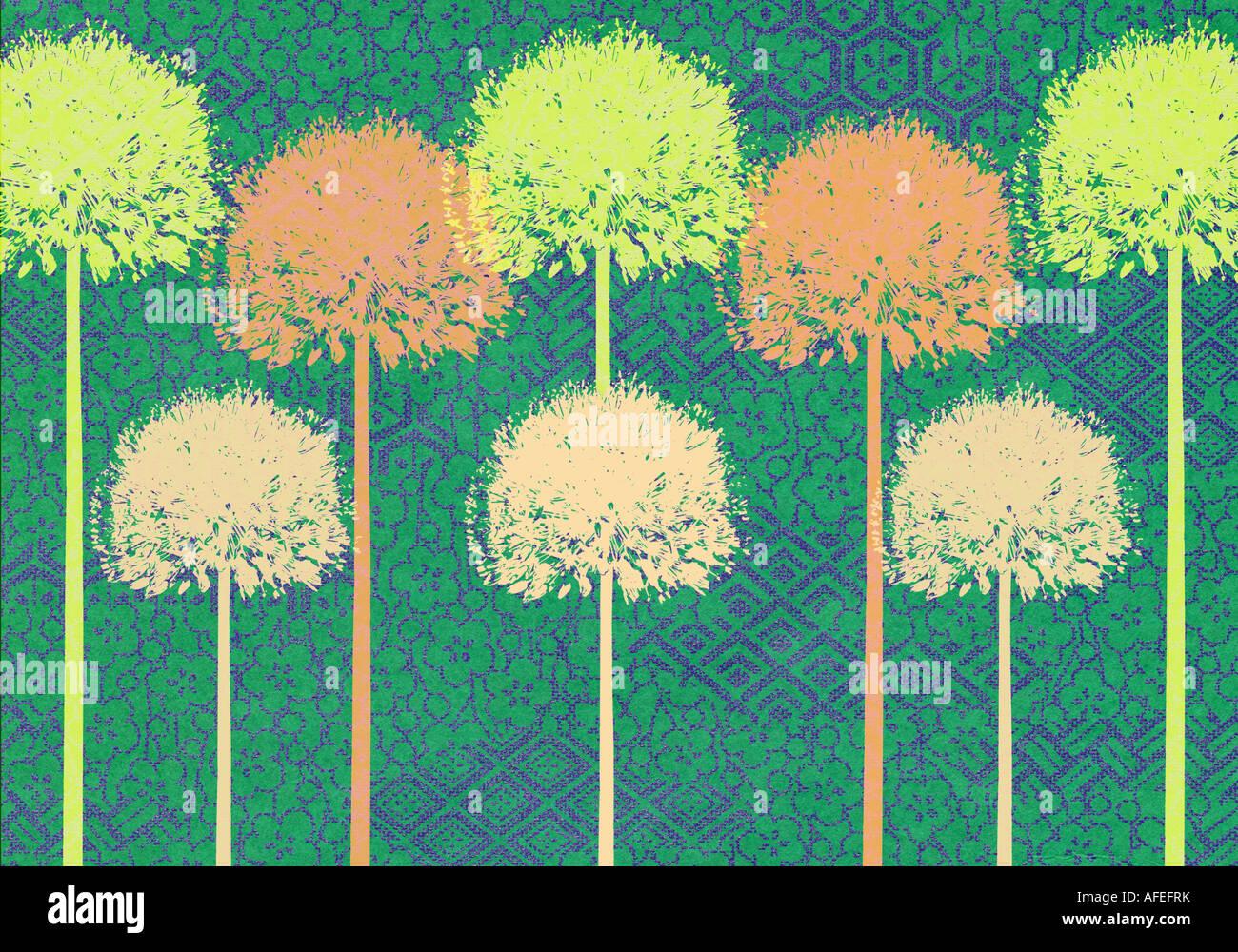 Fase e ripetere la illustrazione di Alliums Immagini Stock