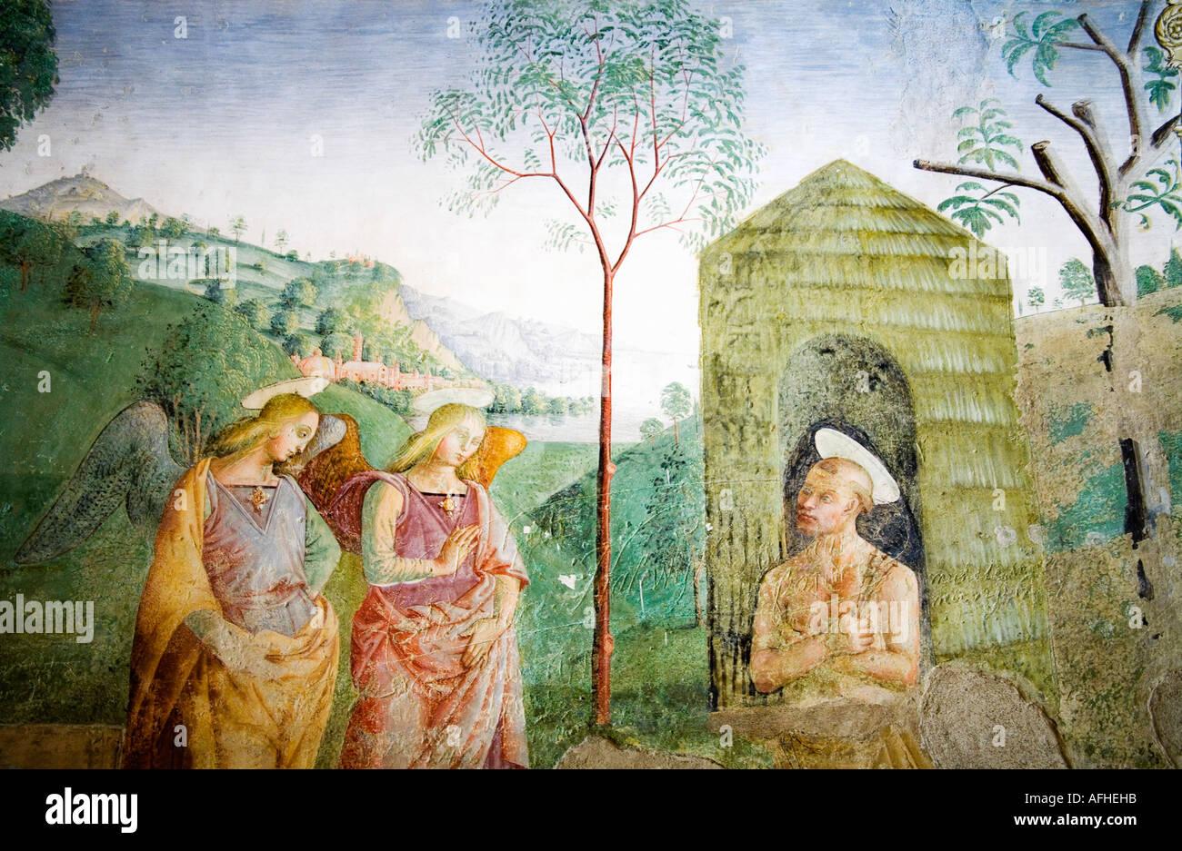 San Francesco di Assisi con angeli affresco nella motivazione della Basilica di Santa Maria degli Angeli di Assisi Umbria Italia Immagini Stock