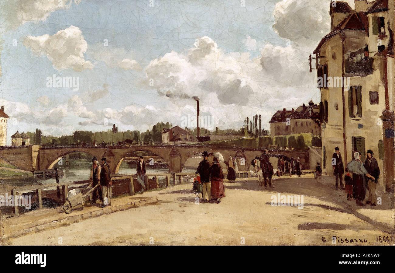 """""""Belle Arti, Pissarro, Camille (10.7.1830 - 13.11.1903), pittura, """"vue de Pontoise (vista di Pontoise), 1868, olio su tela, K Immagini Stock"""