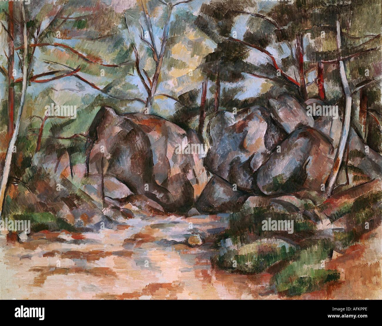 Belle arti, Cezanne, Paolo (1839 - 1906), pittura, forrest con massi, il Kunsthaus Zürich, Francese, impressionismo, Foto Stock