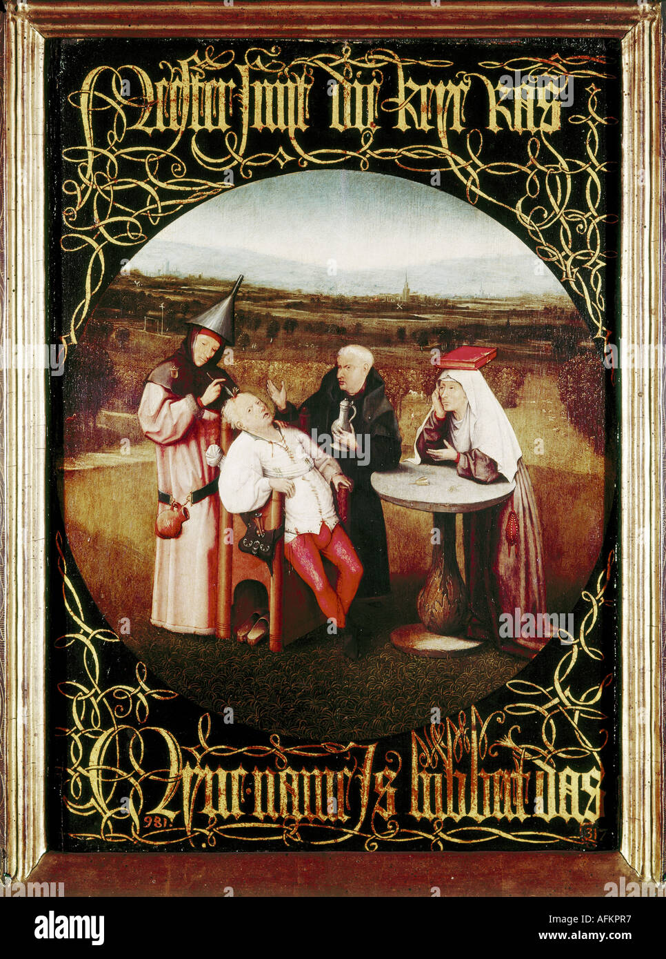 """""""Belle Arti, Bosch Hieronymus, (circa 1450 - 1516), pittura, 'l'indurimento della follia (estrazione della pietra della follia)', 1475 - Foto Stock"""
