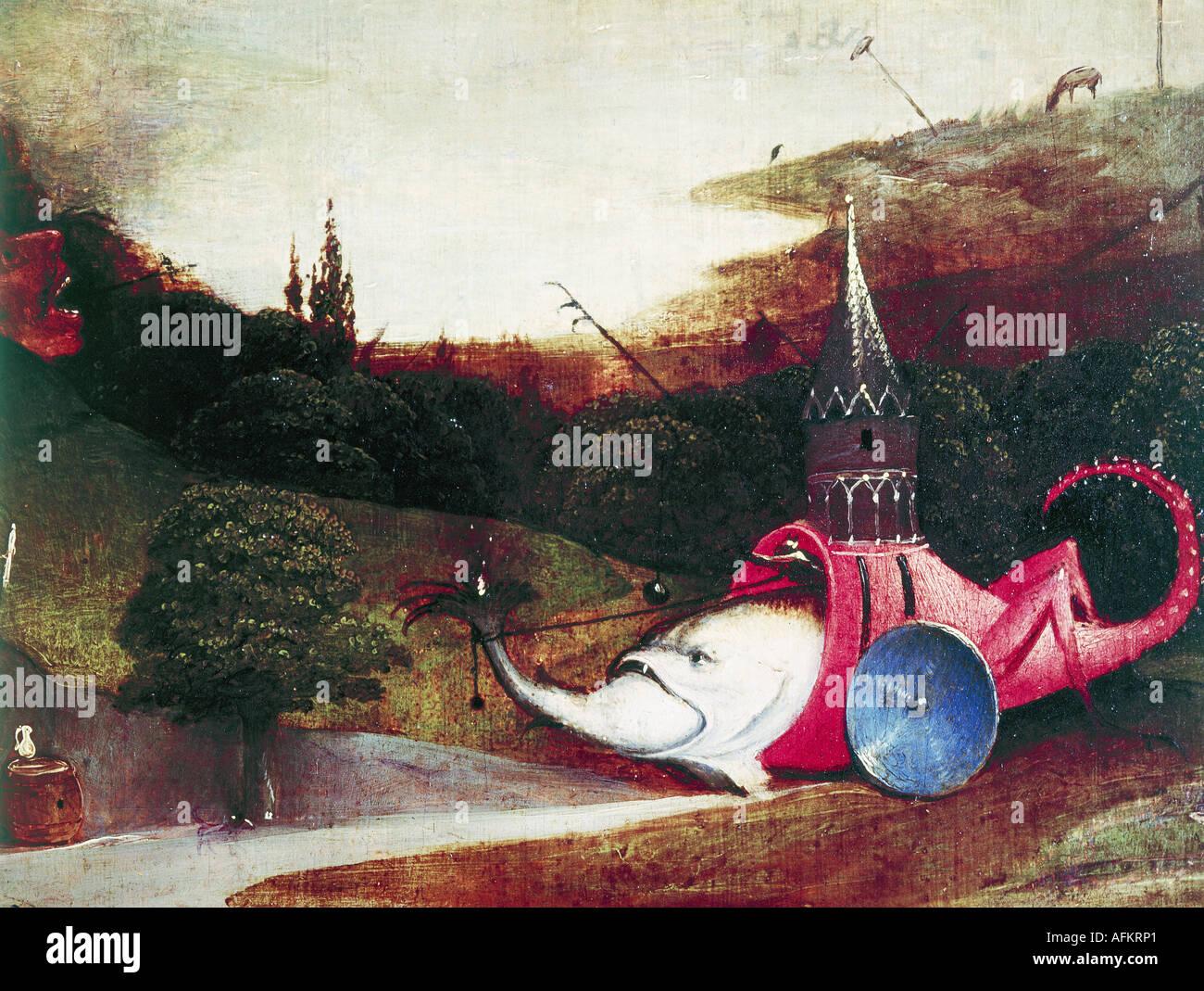 """""""Belle Arti, Bosch Hieronymus, (circa 1450 - 1516), pittura, """"la tentazione di Sant Antonio', pannello sinistro, Foto Stock"""