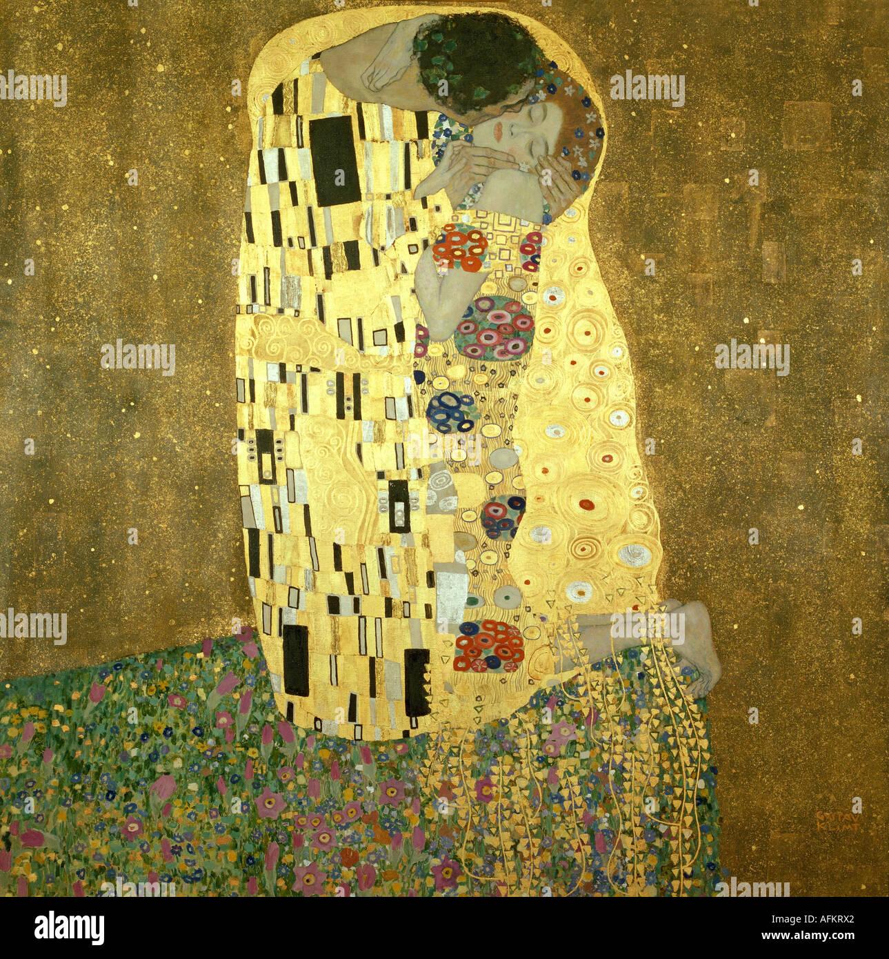 """""""Belle Arti, Klimt, Gustav, (1862 - 1918), pittura, 'Der Kuss' ('il bacio""""), 1907 - 1908, olio, argento e oro su Foto Stock"""