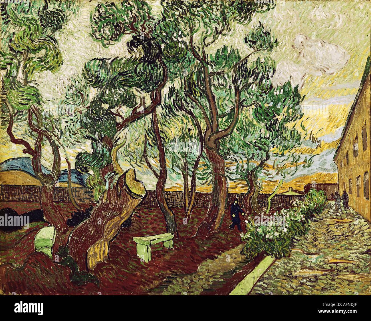 """""""Belle Arti, Gogh, Vincent van, (1853 - 1890), pittura, """"le Jardin de la Maison des alines de Saint Remy' ('Il giardino Foto Stock"""