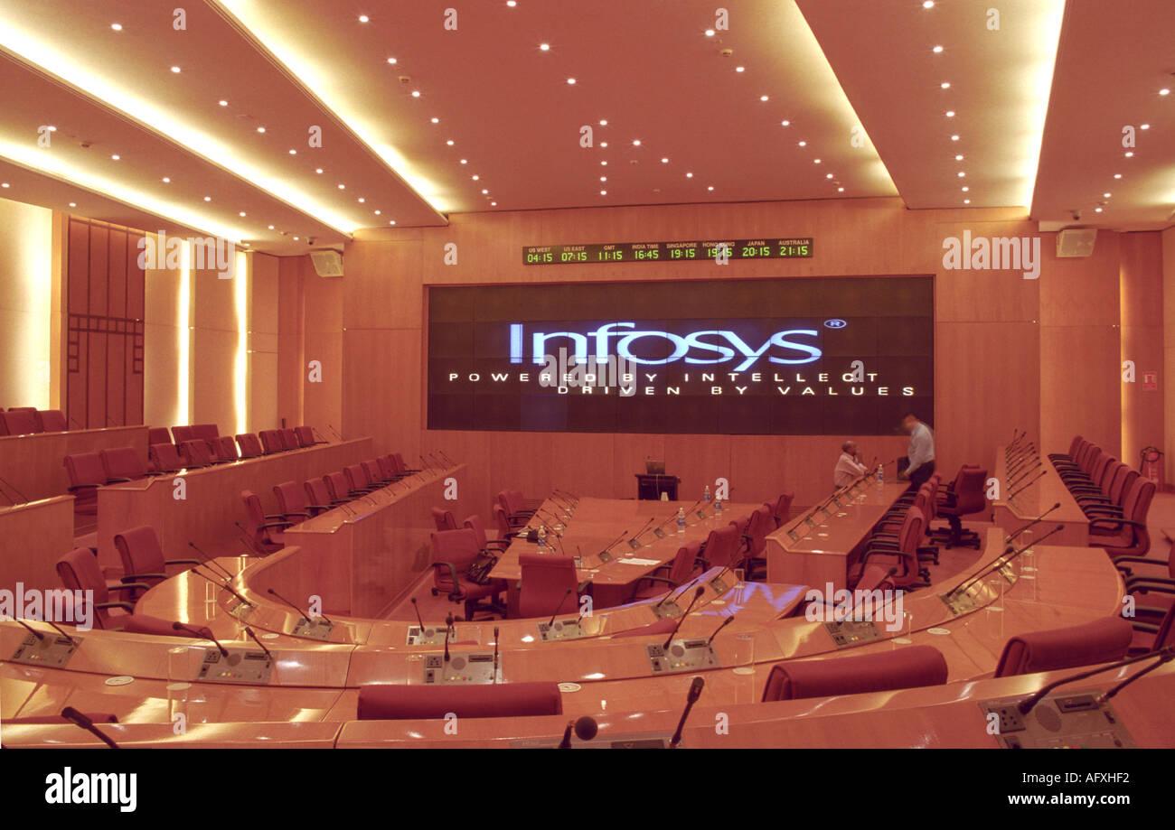 Presentazione al teatro indiano leader IT azienda Infosys Immagini Stock