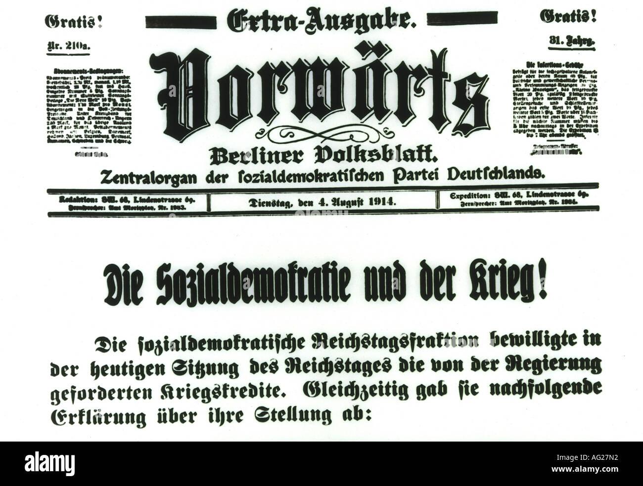 """Premere/media, giornali/riviste, """"Vorwärts"""", 4.8.1914, Titel, democrazia sociale, DOCUP, la prima guerra mondiale/WWI, giornale, Germania, ventesimo secolo , Additional-Rights-giochi-NA Immagini Stock"""