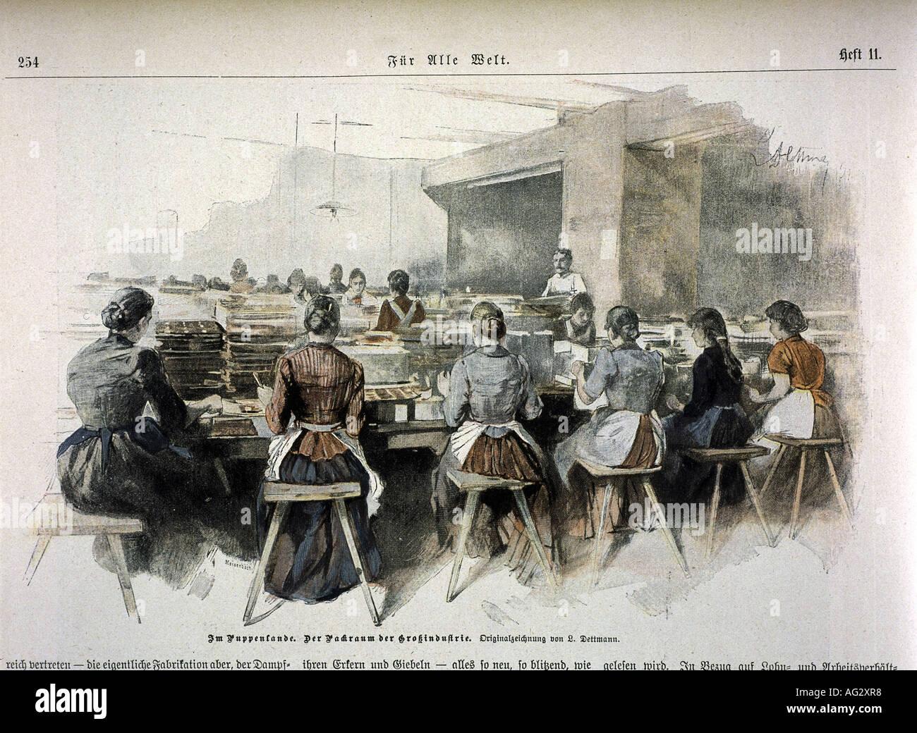 L'industria dei giocattoli, fabbricazione di bambole, sala imballaggio, incisione dopo il disegno di Ludwig Immagini Stock