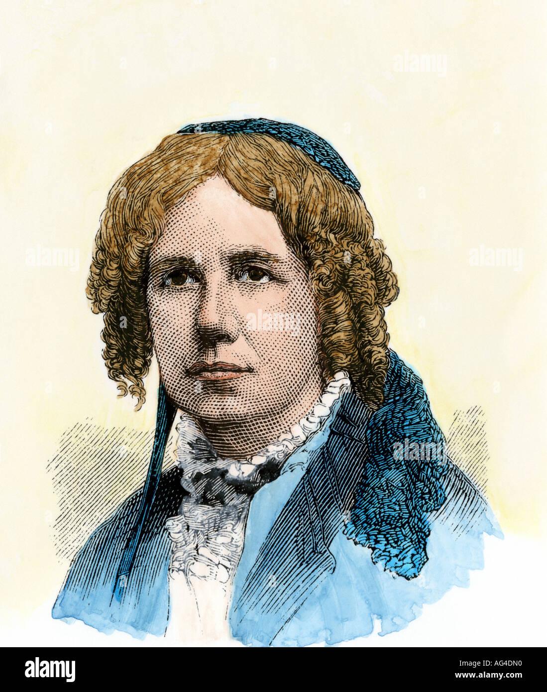 Maria Mitchell professore di astronomia al Vassar College. Colorate a mano la xilografia Immagini Stock