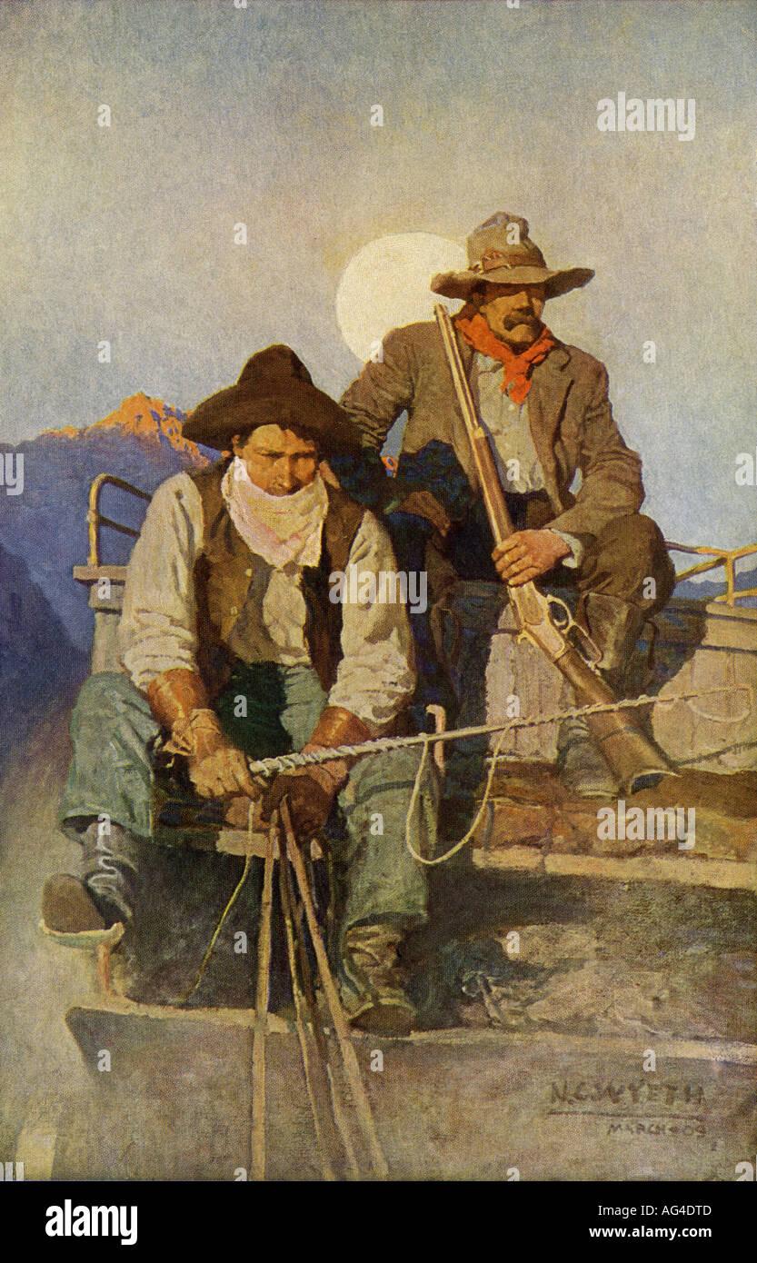 Stagecoach driver e guardie armate nel vecchio west. Colore mezzetinte di illustrazione. Immagini Stock