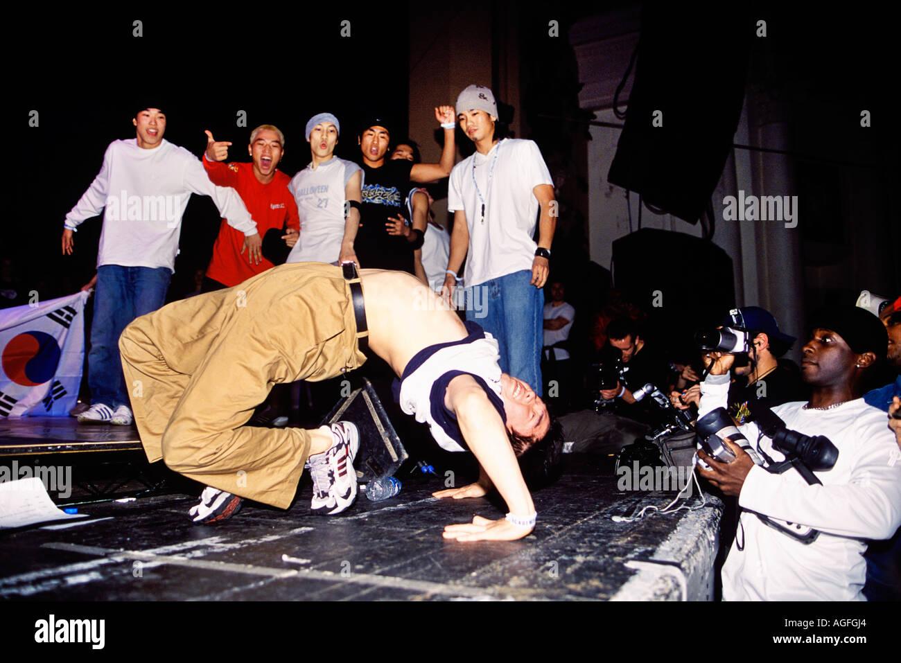 Presentatore al mondo B Boy Championships alla Brixton Academy di Londra Foto Stock