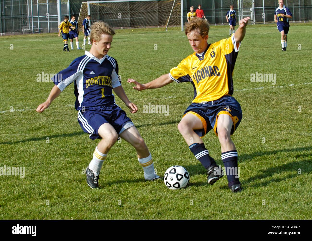 Alta scuola calcio futbol azione calcio Port Huron Michigan Foto Stock