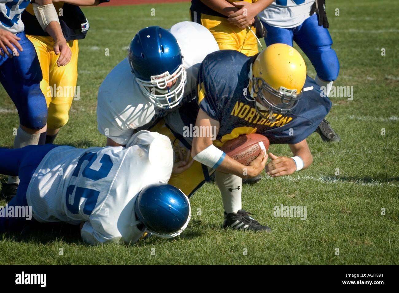Alta Scuola Calcio azione Port Huron Michigan Immagini Stock
