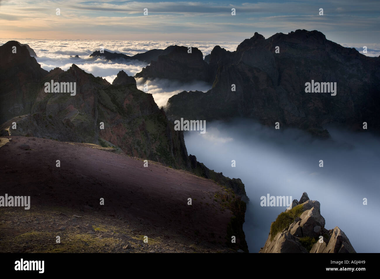Madeira paesaggio di montagna a Pico de Arieiro Immagini Stock