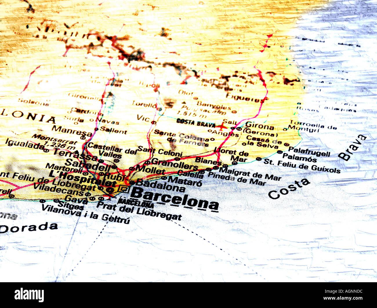 Cartina Geografica Spagna Costa Brava.Mappa Di Barcellona Foto Stock Alamy