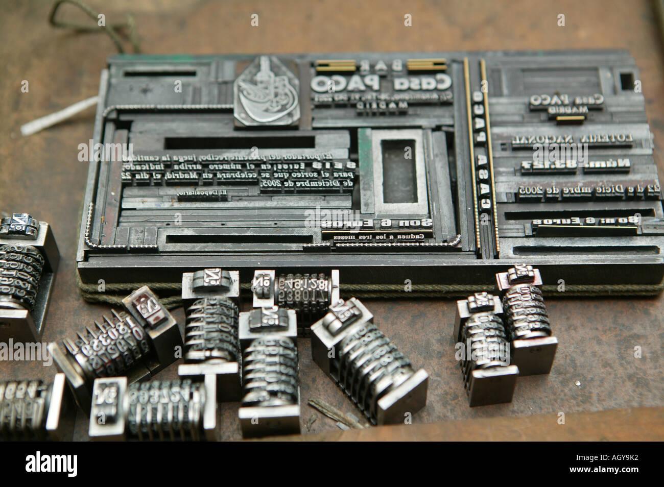 Stampa, stamperie, act, pezzo, tipografia, reliefprinter, illustrazione, arte, tecnica, invenzione, tipografo, aes Immagini Stock