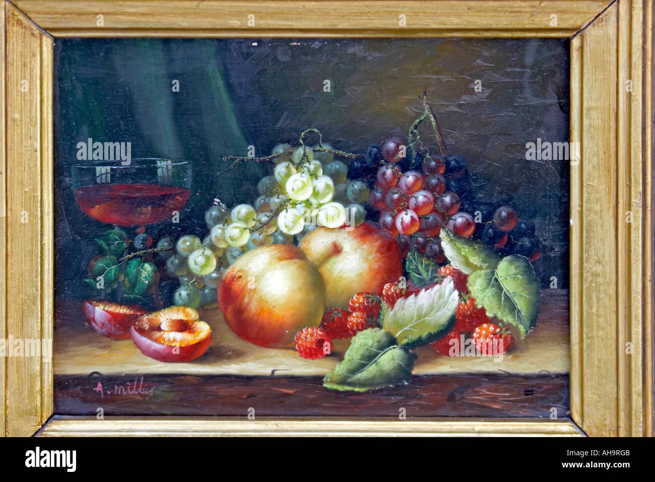 Stile olandese olio pittura alimentare di frutti con foglie di uva e pesche Immagini Stock