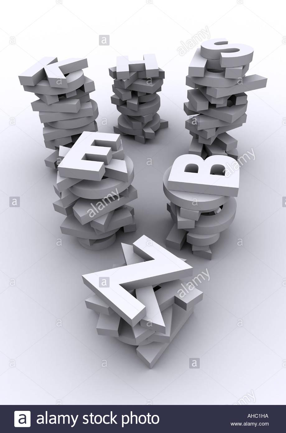 Tipografia 3D alfabeto Immagini Stock