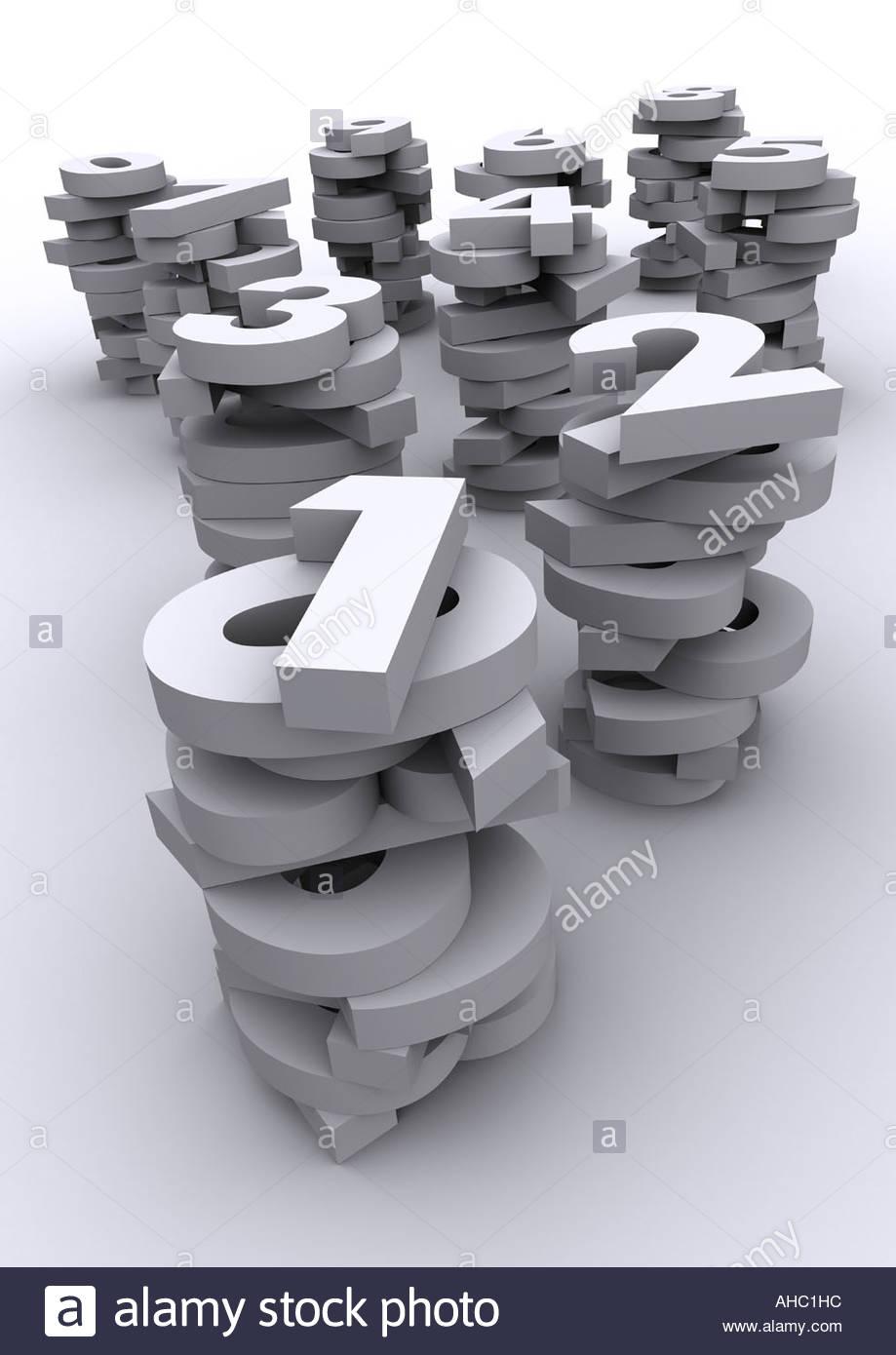 Tipografia 3D i numeri Immagini Stock