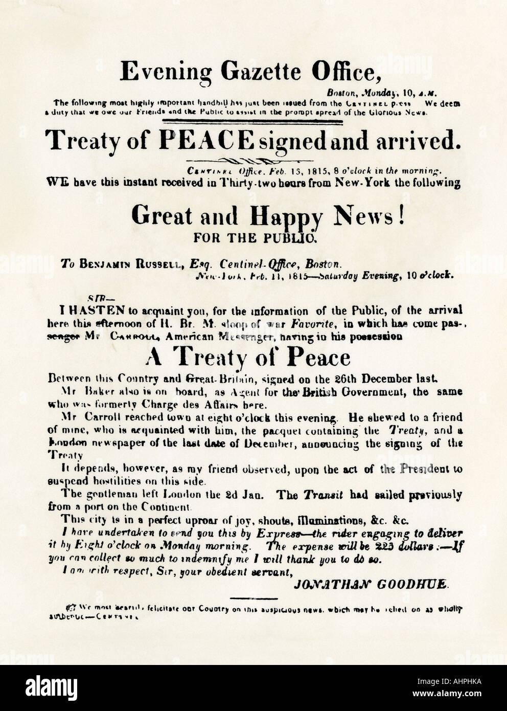 American handbill annunciando il Trattato di Gand che termina la guerra del 1812. Xilografia con un lavaggio ad acquerello Immagini Stock