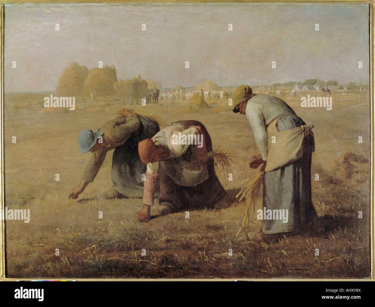 """Belle Arti, miglio, Jean-Francois (1814 - 1875), pittura, 'Le Spigolatrici"", 1857, olio su tela, Louvre, Parigi, Francese, realismo Foto Stock"